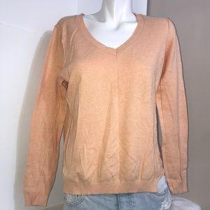 Reitmans Peach V-Neck Ribbed Mix Blend KnitSweater